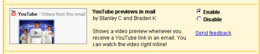 YouTube previews in mail